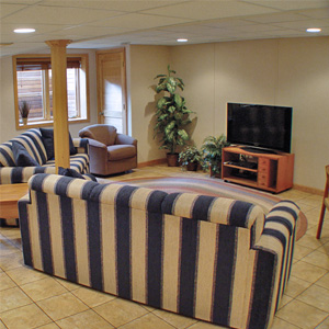 A Finished Basement Living Room Area in Harrington, DE & MD