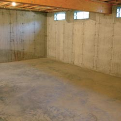 A cleaned out basement in Ocean Pines, shown before remodeling has begun