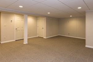 Finished basement space with waterproof wall paneling ceiling tiles and floor system & Basement Remodeling u0026 Finishing Products in Dover - Four Corners