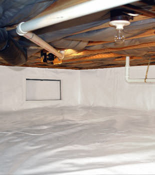 A complete crawl space repair system in Highland Acres