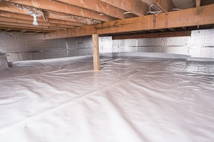 A complete crawl space vapor barrier in Lewes installed by our contractors