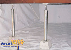 Crawl space structural support jacks installed in Long Neck