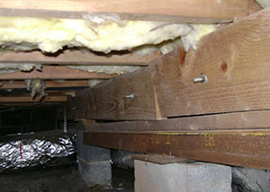 A sagging crawl space with concrete supports and wooden shimming a Fruitland crawl space