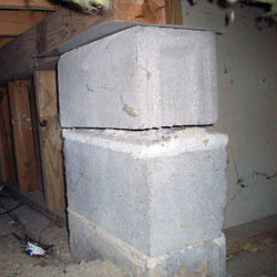 Collapsing crawl space support pillars Cape St. Claire